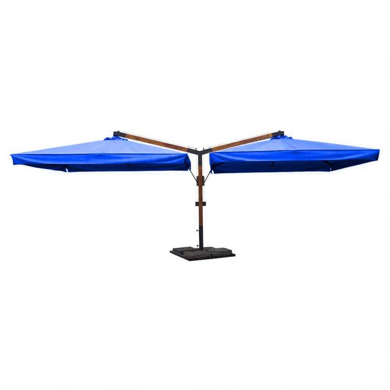 Зонт многокупольный два квадратных зонта с боковыми деревянными опорами ДС 2К 8Л 3,5х3,5