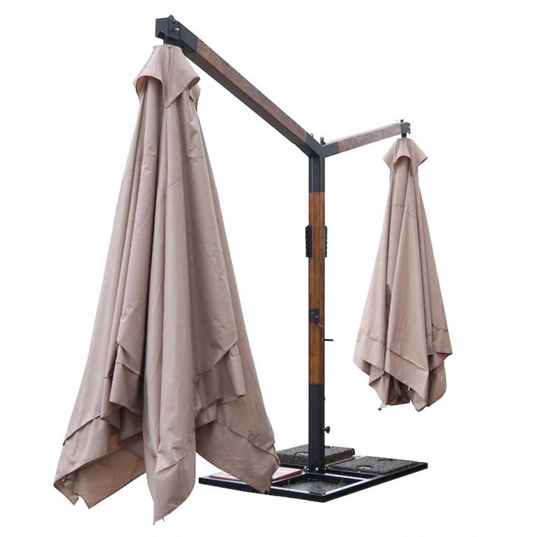 Зонт многокупольный два квадратных зонта с боковыми деревянными опорами ДС 2К 8Л 3,0х3,0