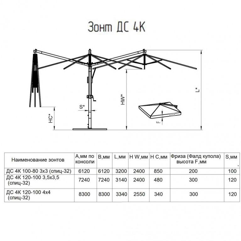 Зонт четырехкупольный зонт с деревянной опорой ДС 4К 120 7,2х7,2