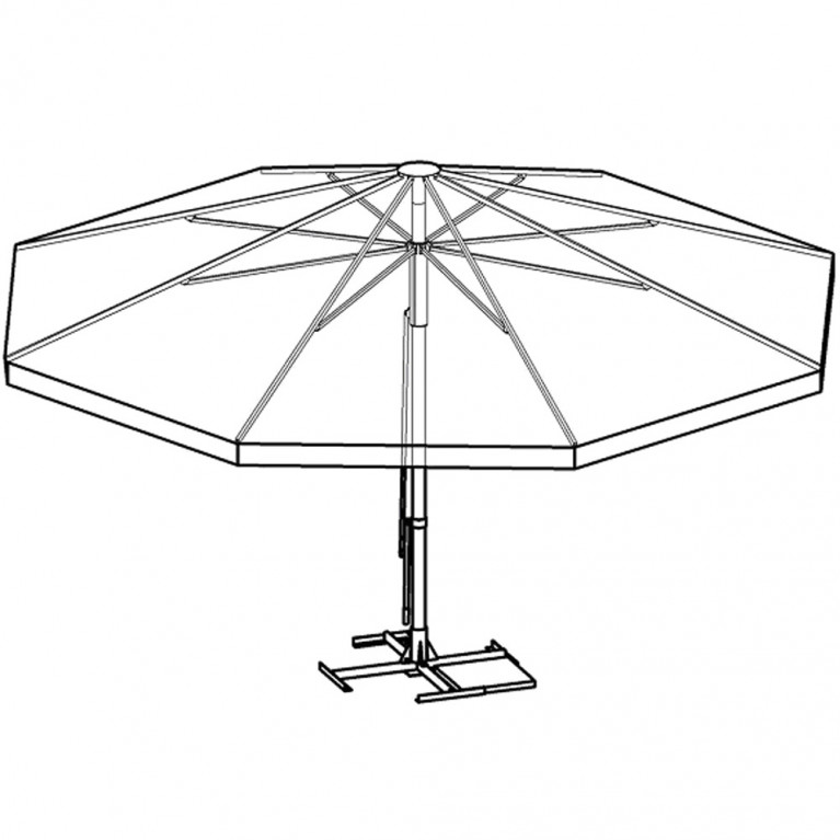 Зонт с рычажным приводом 8Л 4,0-76 стойка 76, круглый с диаметром 4 метра