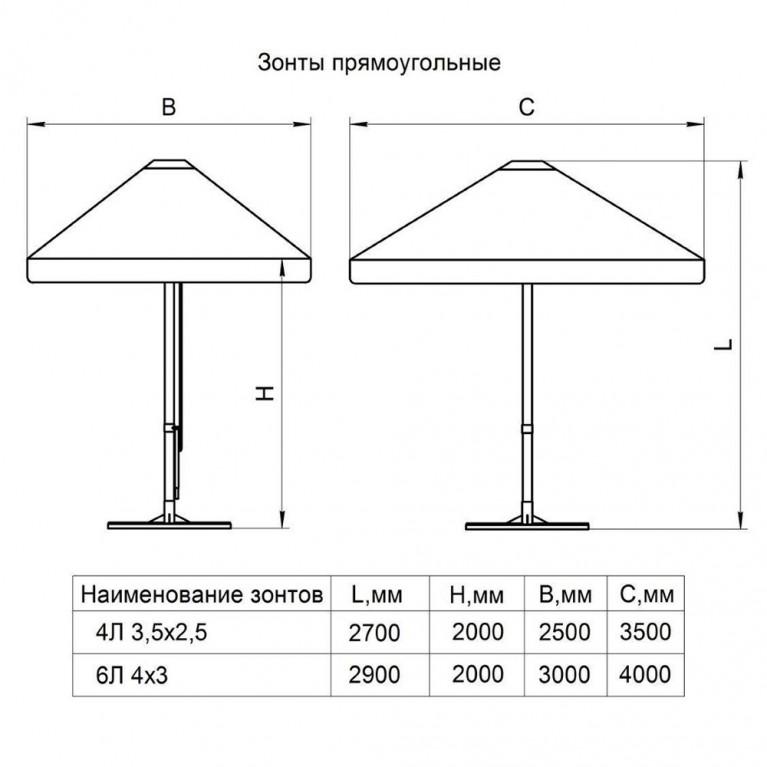 Зонт с рычажным приводом 4Л 2x3-34 прямоугольный