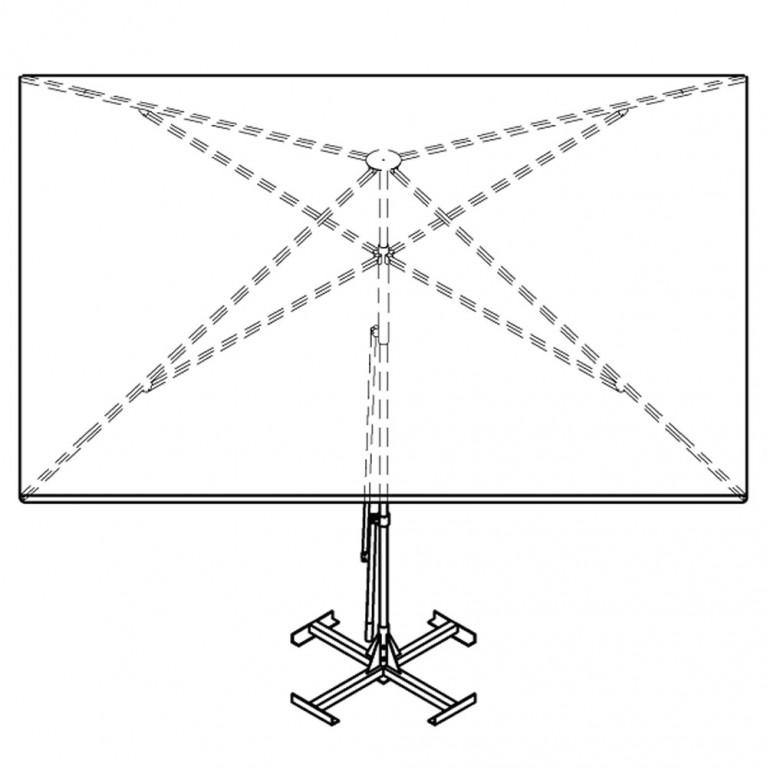 Зонт с рычажным приводом 4Л 3x3-51 квадратный