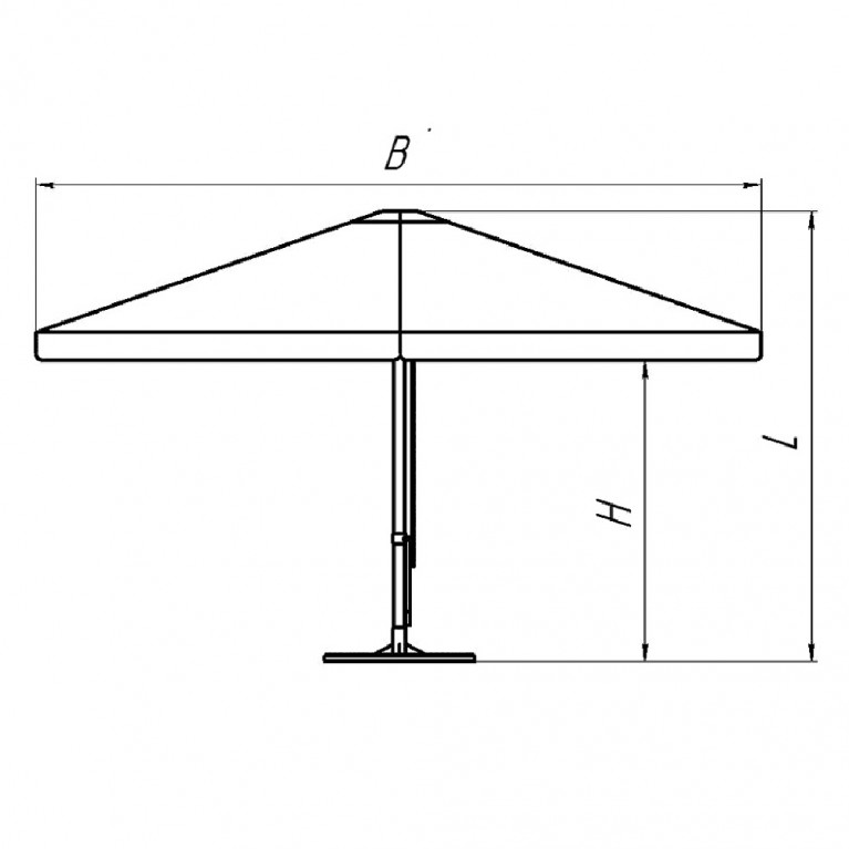 Зонт с рычажным приводом 8Л3,5x,5-76 квадратный