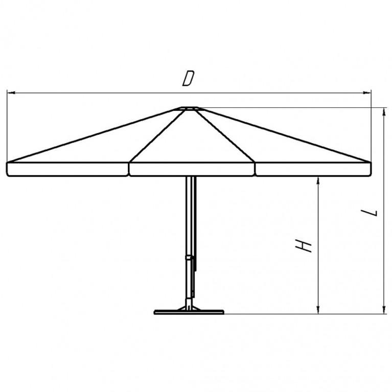 Зонт с рычажным приводом 6Л 3,0 стойка 51, круглый