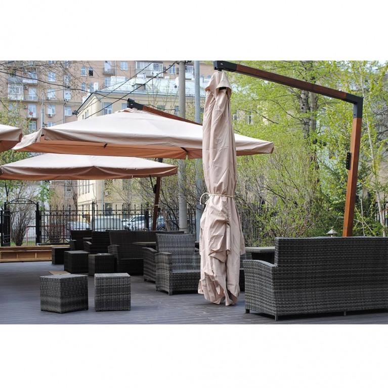 Зонт с боковой деревянной опорой ДС 100 8Л 4х4 м