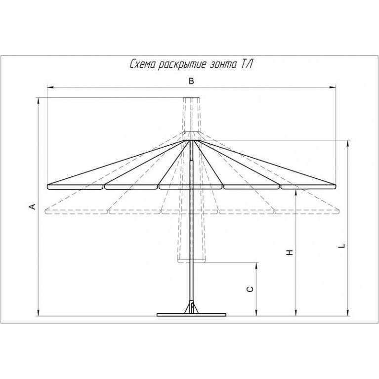 Зонт уличный 8Л5,0-76ТЛ телескопический круглый